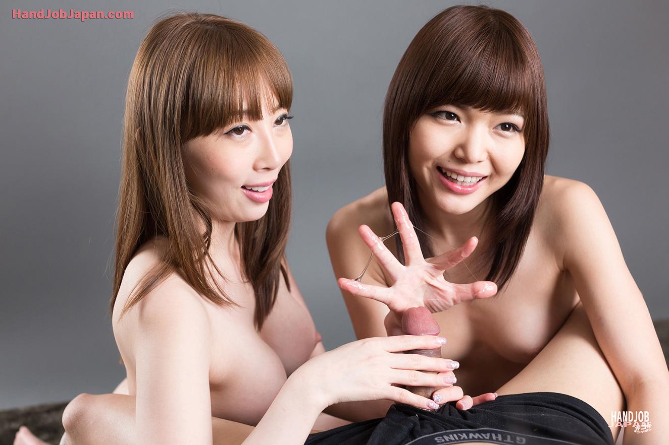 handjob japan 手コキbig cock Cute Japanese Girls Stroking Hard Cocks
